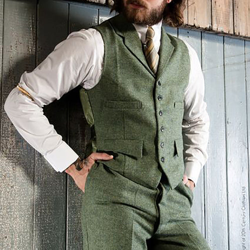 Men Lapel Traditional Herringbone Waistcoat