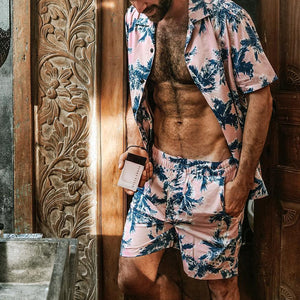 Men Vacation Print Two-Piece Set