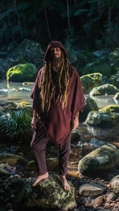 Men Hooded Poncho Wild Festival Boho Shawl