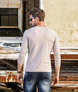 Men Basic Round Neck Blouse Shirt