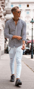 Men Stand Collar Long Sleeves Striped Shirt