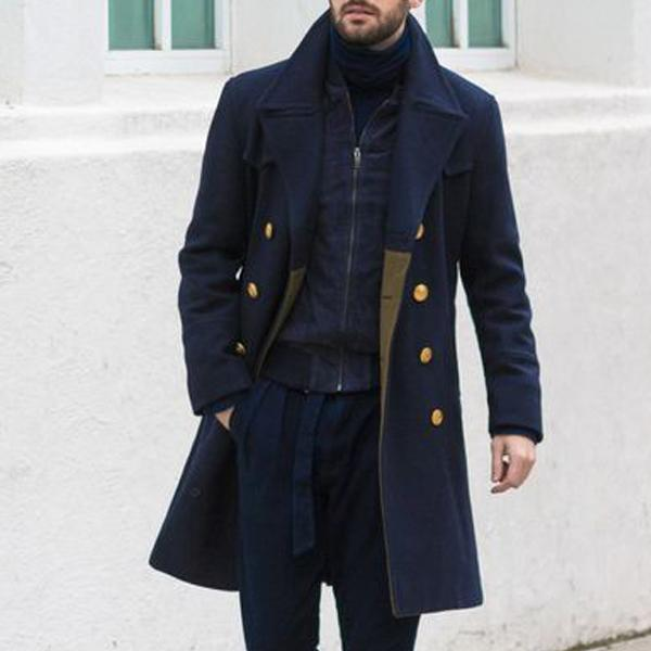 Men Revere Collar Double Breasted Coat