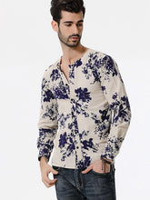 Load image into Gallery viewer, Men Casual Soft V-Neck Blouse Shirt