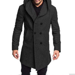 Men Hoodie Solid Double Breasted Coat
