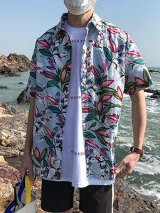 Men Lapel Printed Short Sleeves Shirt