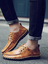 Load image into Gallery viewer, Men Lace-up Leather Loafers Flat Shoes