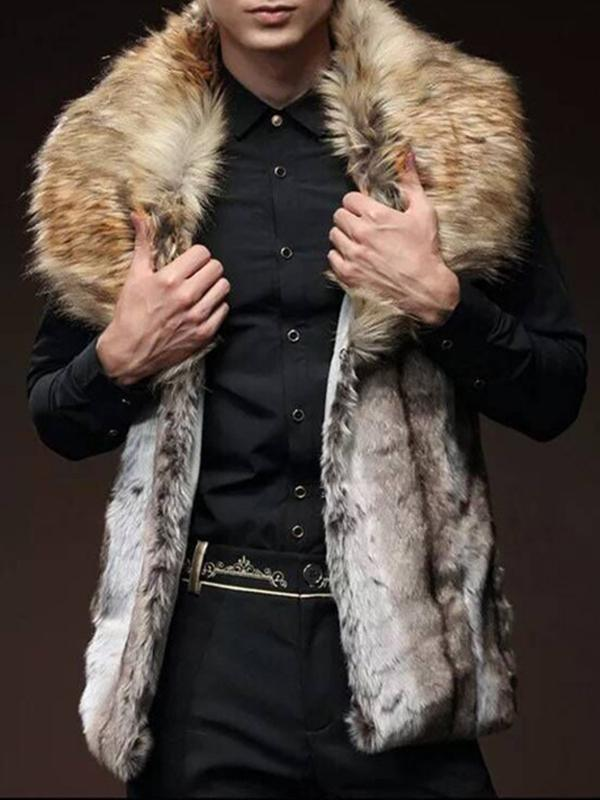 Men Faux Fur Collar Winter Vest Coat