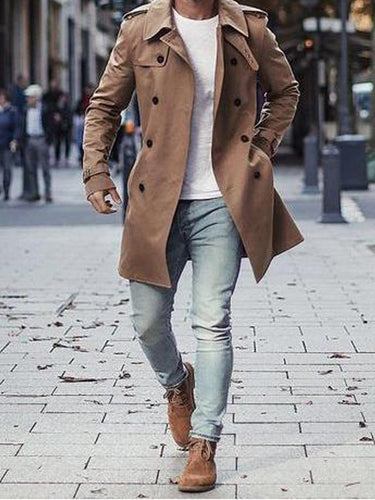 Men Double Breasted Lapel Cardigan Coat