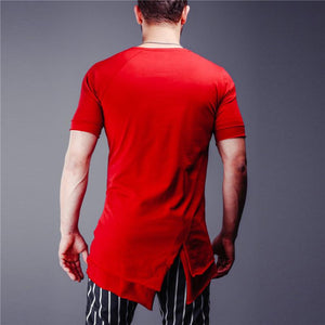 Men Round Neck Asymmetric T-Shirt