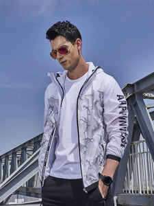 Men Zip Up Hoodie Outdoor Windbreakers