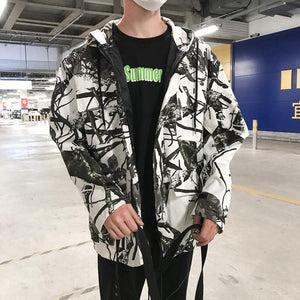 Men Printed Hoodie Cardigan Jacket