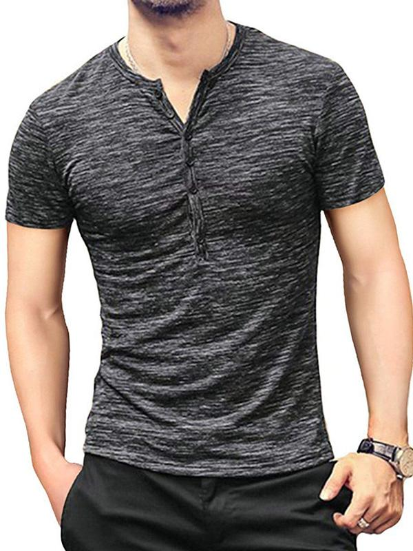 Men Short Sleeves Basic Blouse Shirt