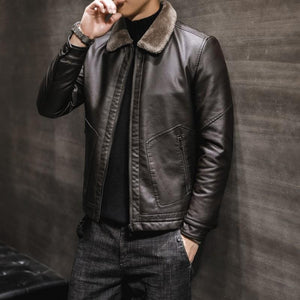 Men Fur Collar Lapel Jacket Coat