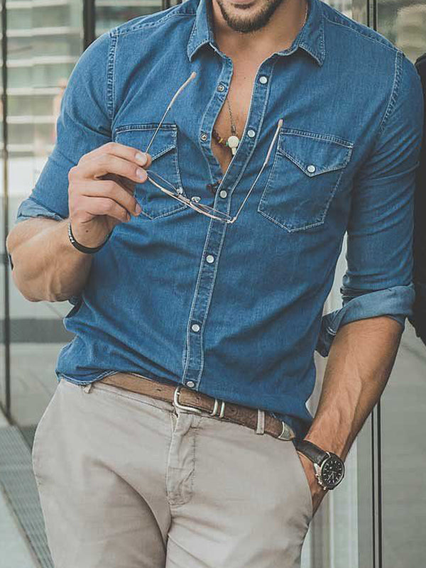 Men Long Sleeves Denim Blouse Shirt