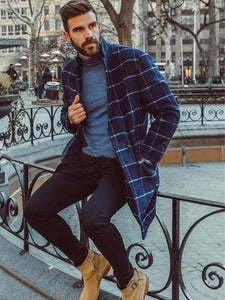Men Casual Grid Printed Lapel Cardigan Coat
