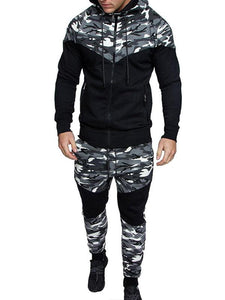 Men Camouflage Splicing Casual Sport Suits