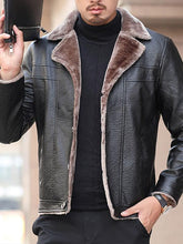 Load image into Gallery viewer, Men Fur Collar Lapel PU Jacket
