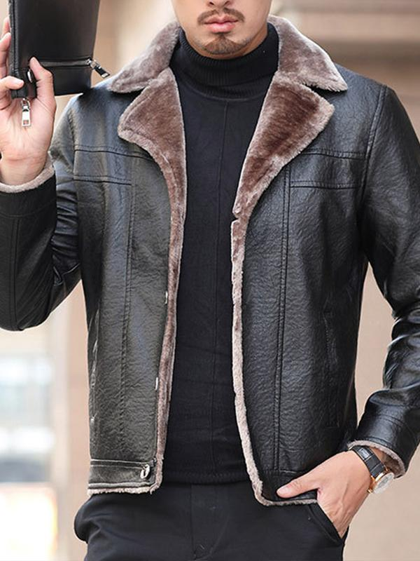Men Fur Collar Lapel PU Jacket