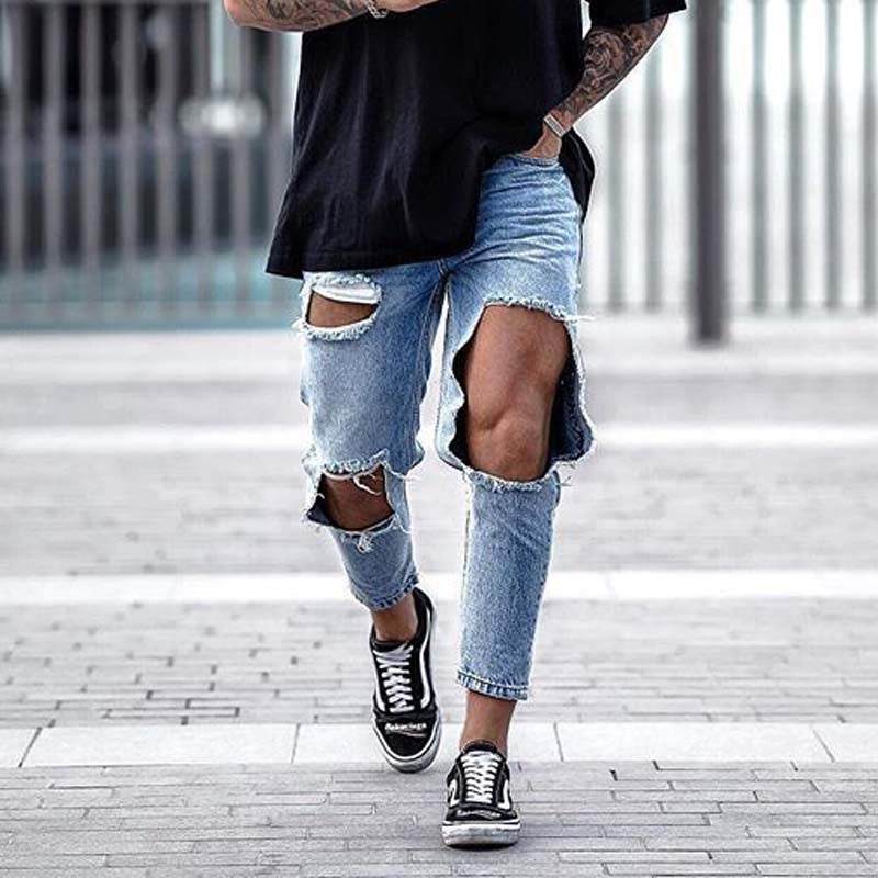 Men Fashion Ripped Trousers