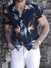 Load image into Gallery viewer, Men Leaves Printed Short Sleeves Shirt