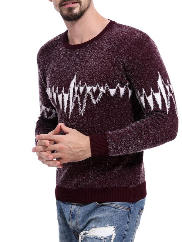 Men Round Neck Printed Sweater Tops