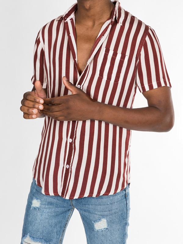 Men  Striped Short Sleeves Shirt