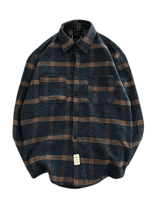 Flannel Plaid Printed Mens Long Sleeves Blouse&Shirt