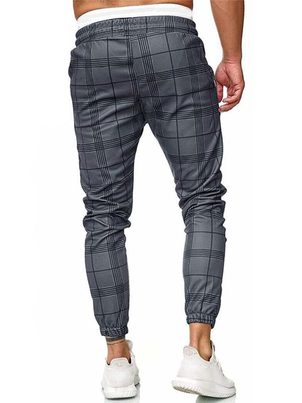 Men Drawstring Waist Grid Printing Pants