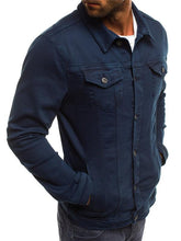 Load image into Gallery viewer, Men Pure Color Denim Jacket