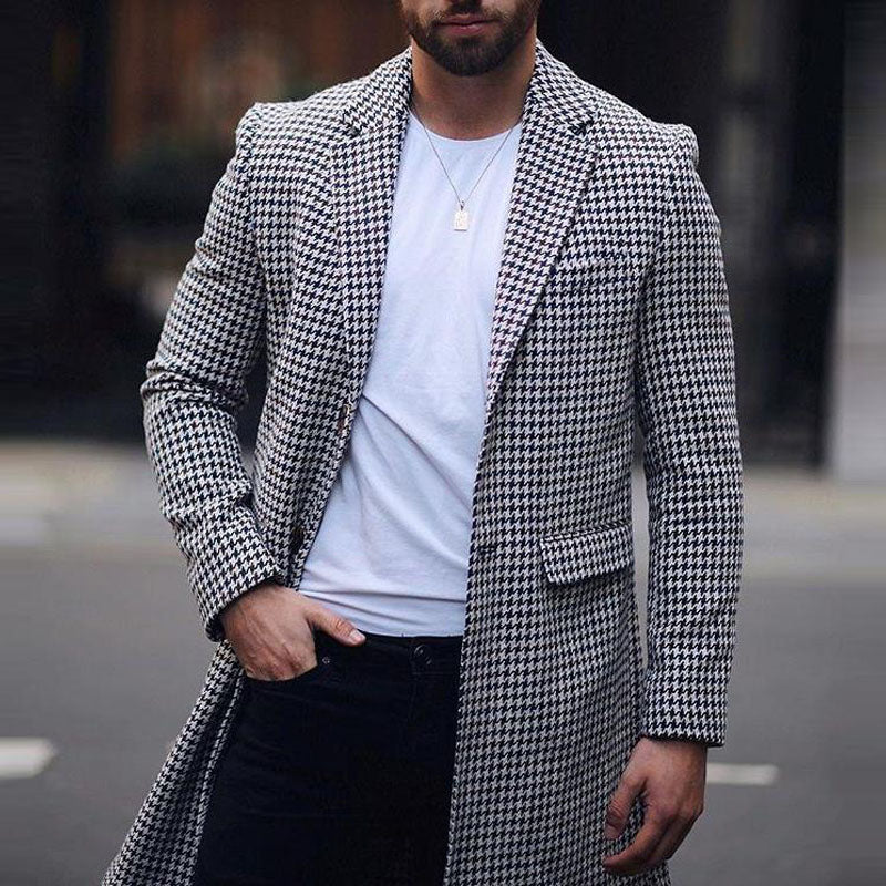 Men Slim Houndstooth Cardigan Coat