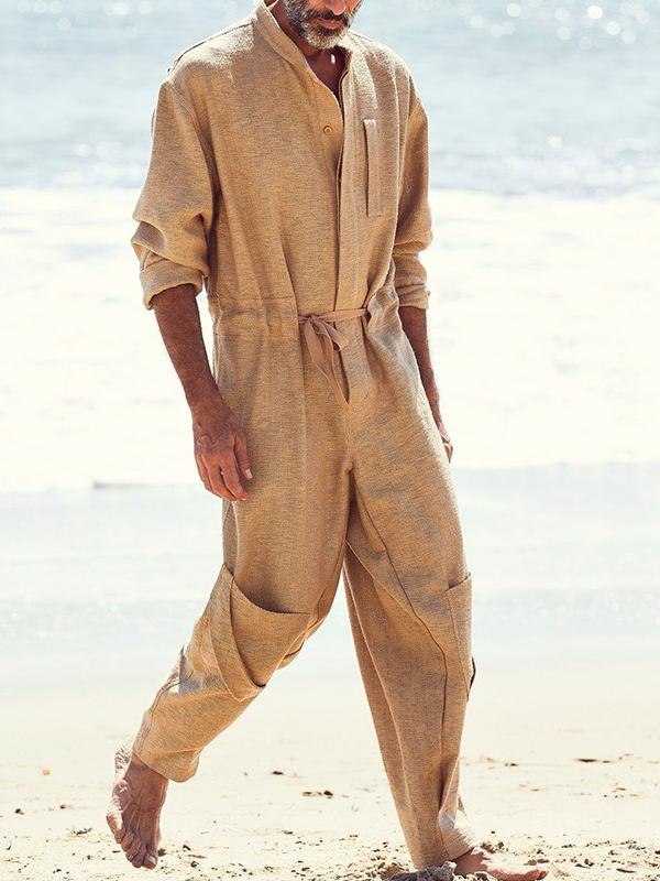 Men Solid Loose Overalls Jumpsuit