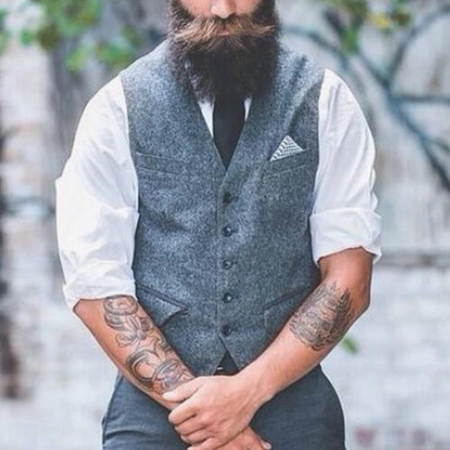 Men Traditional Solid Herringbone Waistcoat
