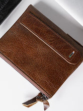 Load image into Gallery viewer, Solid Zipper Leather Simple Wallet