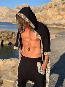 Men Tropical Printed Half Sleeves Shawl&Cloak