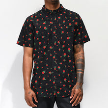 Load image into Gallery viewer, Men Black Rose Pattern  Short Sleeve Blouse