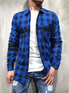 Men Spring Grid Printing Shirt