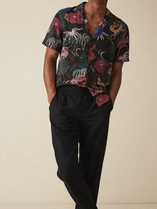Men Lapel Tropical Printed Shirt