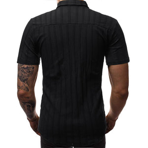 Men Lapel Striped Short Sleeves Shirt