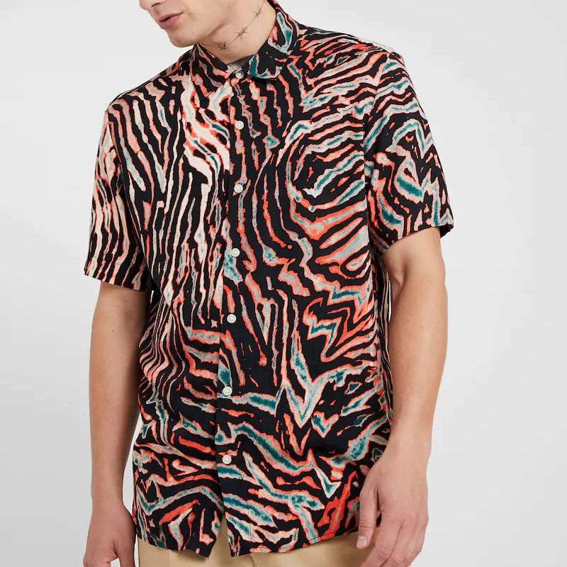 Men Rib Print Short Sleeves Shirt