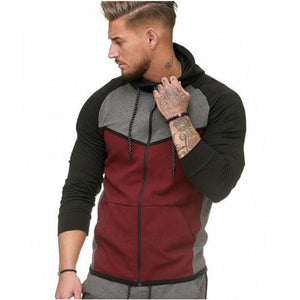 Men Zipper Splicing Hoodie Sweatshirt
