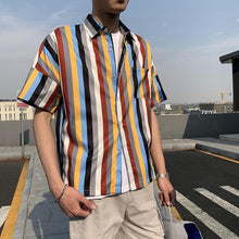 Load image into Gallery viewer, Men Short Sleeves Color Block Shirt