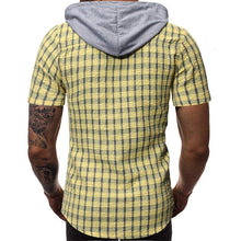 Load image into Gallery viewer, Men Short Sleeves Plaid Hoodie Blouse Shirt
