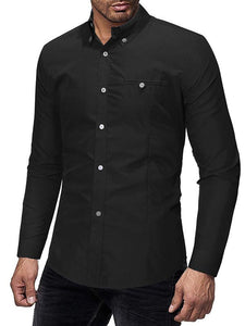 Mens Long Sleeves Solid Casual Blouses&shirts