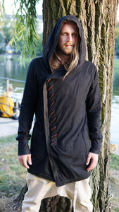 Men Hooded Single Breasted Loose Plus Blouse Shirt