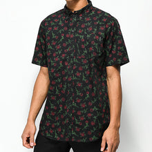 Load image into Gallery viewer, Men Rose Black Short Sleeveshirt