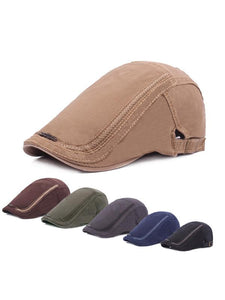 Solid Cotton Casual Adjustable Beret Hat