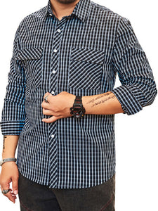 Men Plaid Pocket Lapel Plus Shirt