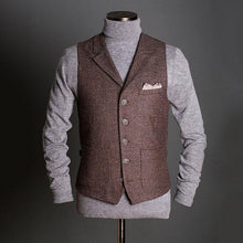 Load image into Gallery viewer, Men Revere Collar Traditional Herringbone Waistcoat