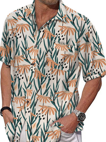Men Bohemian Printed Short Sleeves Shirt