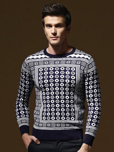 Men Printed Knitted Sweater Tops